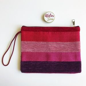 Hand Loomed Moroccan Clutch - Pink/Red